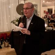 CU Boulder Chancellor Philip DiStefano makes an appearance at the recent Forever Gold holiday party.