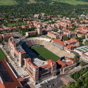 An aerial view of the CU Boulder campus, including Folsom Field.