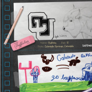 Colorado football tickets adorned with children's designs