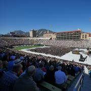 Blue skies and full stands at Folsom during spring commencement
