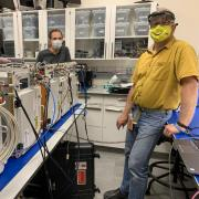 Tobias Niederwieser and Alexander Hoehn in a BioServe laboratory
