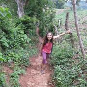 CU Boulder-Peace Corps volunteer Kara Zucker in El Salvador, hiking.