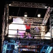 Nate Hansen celebrates winning in the American Ninja Warriorsemifinal