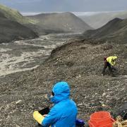 Scientists investigate a glacier detachment site in Alaska