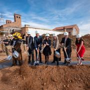 CU mascot Chip, left joins dignitaries for a photo during the CU College of Music groundbreaking ceremony for the expansion of their building. Photo by Glenn Asakawa.