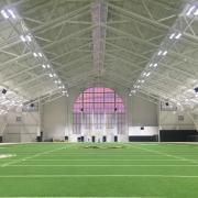 Inside of the Athletics' Indoor Practice Facility