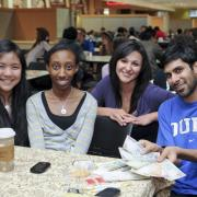 Students at International Coffee Hour