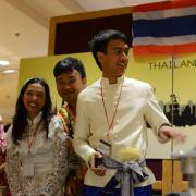 Students representing Thailand booth at International Festival