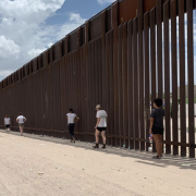 INVST students walk along the U.S.-Mexico border