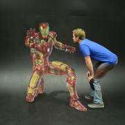 Chris Carlson and his chalk artwork of Iron Man
