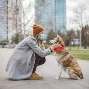 person in mask outside with dog
