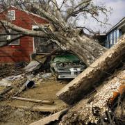 A home destroyed after Hurricane Katrina