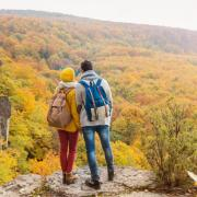 couple on a hike during fall