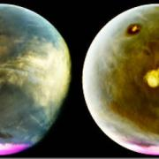 Mars is seen in ultraviolet images throughout the day.