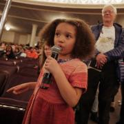 A young participant asks a poignant question to Jemison during the Q&A session. Photo by Casey A. Cass.