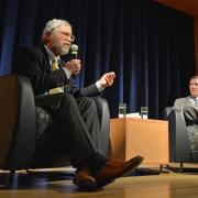 Former Barack Obama science advisor John Holdren, left, with engineering Dean Bobby Braun at a public event on campus Nov 16