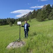 Kent Hutchison records a course in Boulder's Chautauqua Park