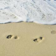 footprints in shoreline sand