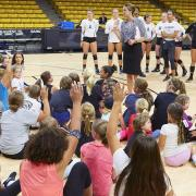 Kids at volleyball camp.