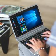 A laptop with Windows 10 visible