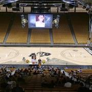 The memorial service for Teri Leiker is held at the CU Events Center on April 9, 2021.