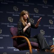 Abigail Posner speaks during Leo Hill Leadership Speaker Series