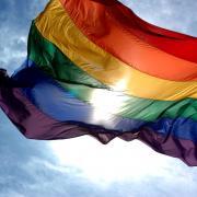LGBT rainbow flag flying