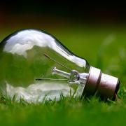Energy efficient lightbulb in green grass