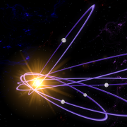 A graphic showing the orbits of dark, icy bodies that tilt out of the plane of the solar system