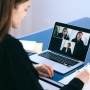 person on video conference call
