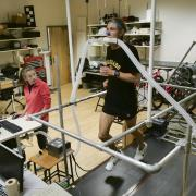 Shalaya Kipp conducts a treadmill study in the Locomotion Lab at CU
