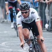 Cyclist Mark Cavendish riding in the Tour de France