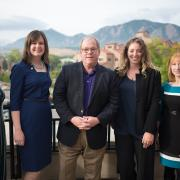 Professor Mark Meaney, center, and students