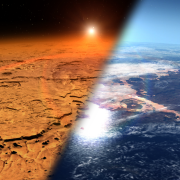 Image of Mars' climate today (left) and an artist's depiction of how the planet may have looked billions of years ago (right).