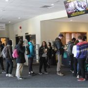 Students line up for Meet Your Librarian event