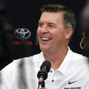 Head football coach Mike MacIntyre during interview