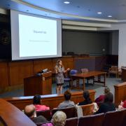 Woman presents at Mini Law School