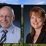 Portraits of Provost Russell L. Moore and Senior Vice Chancellor Kelly Fox.