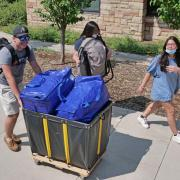 Students move into residence halls at CU Boulder for the fall 2021 semester.