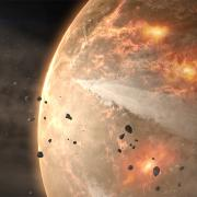 artist's impression of a planet early in its history