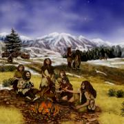 An illustration of Neanderthals gathered around a fire