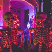 Two skeletons with neon Halloween decorations