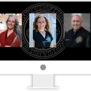 Photos of Nolbert Chavez, Callie Rennison and Ilana Spiegel appear within a computer monitor graphic.