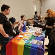 Students check out the Gender and Sexuality Center booth