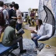 Students hang out in the campus Startup Hub