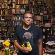 Stephen Graham Jones in his office