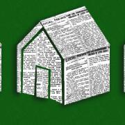 Illustration of houses built of newspaper