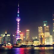 The nighttime skyline of Shanghai, China