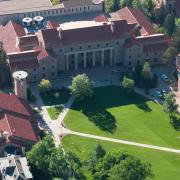 An aerial image of Norlin Quad