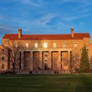 Norlin library at sunset. (Photo by Glenn Asakawa/University of Colorado)